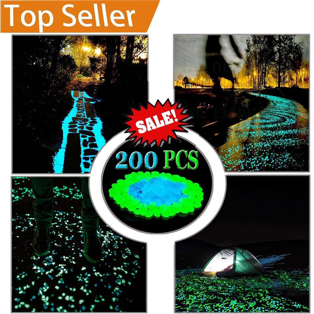 LLOP 200Pack Glow in the Dark Garden Pebbles for Walkways Outdoor Decor Aquarium Fish Tank Path Lawn Yard, Glow Stone Rocks Outdoor Garden Decorative Stones in Blue & Green