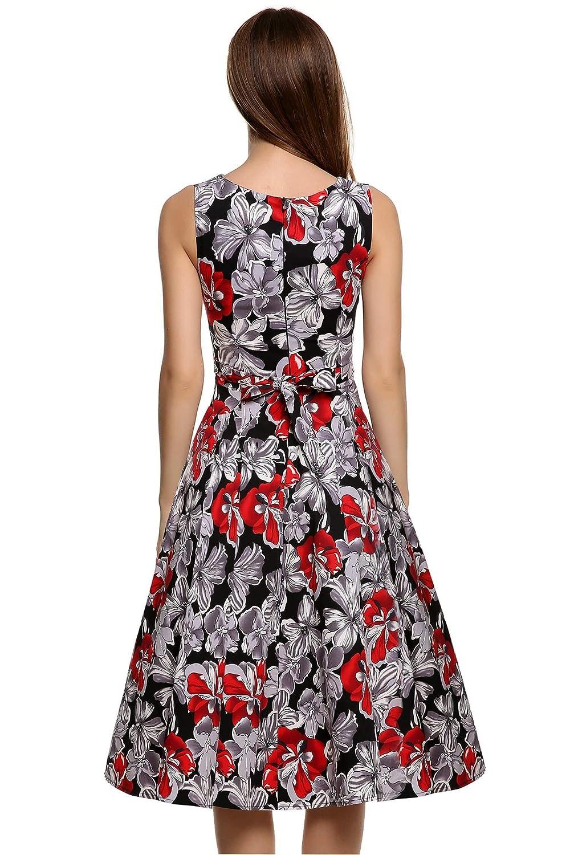ICCUN Women Retro Vintage Swing Dress Sleeveless Floral Cocktail Evening Dress