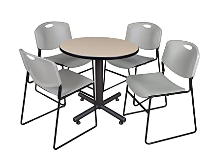 Amazon Com Regency Kobe 30 Inch Round Breakroom Table Beige And 4