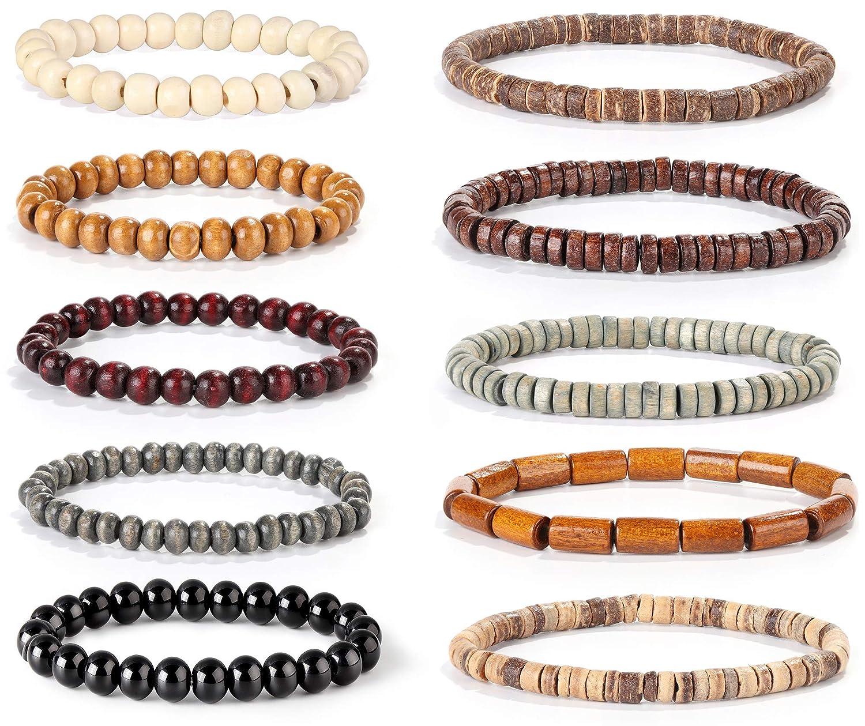 84b730bb1a4 Amazon.com: FIBO STEEL 10 Pcs Wood Beaded Bracelet for Men Tibetan Buddhist  Meditation Mala Prayer Beads Bracelet Elastic: Jewelry