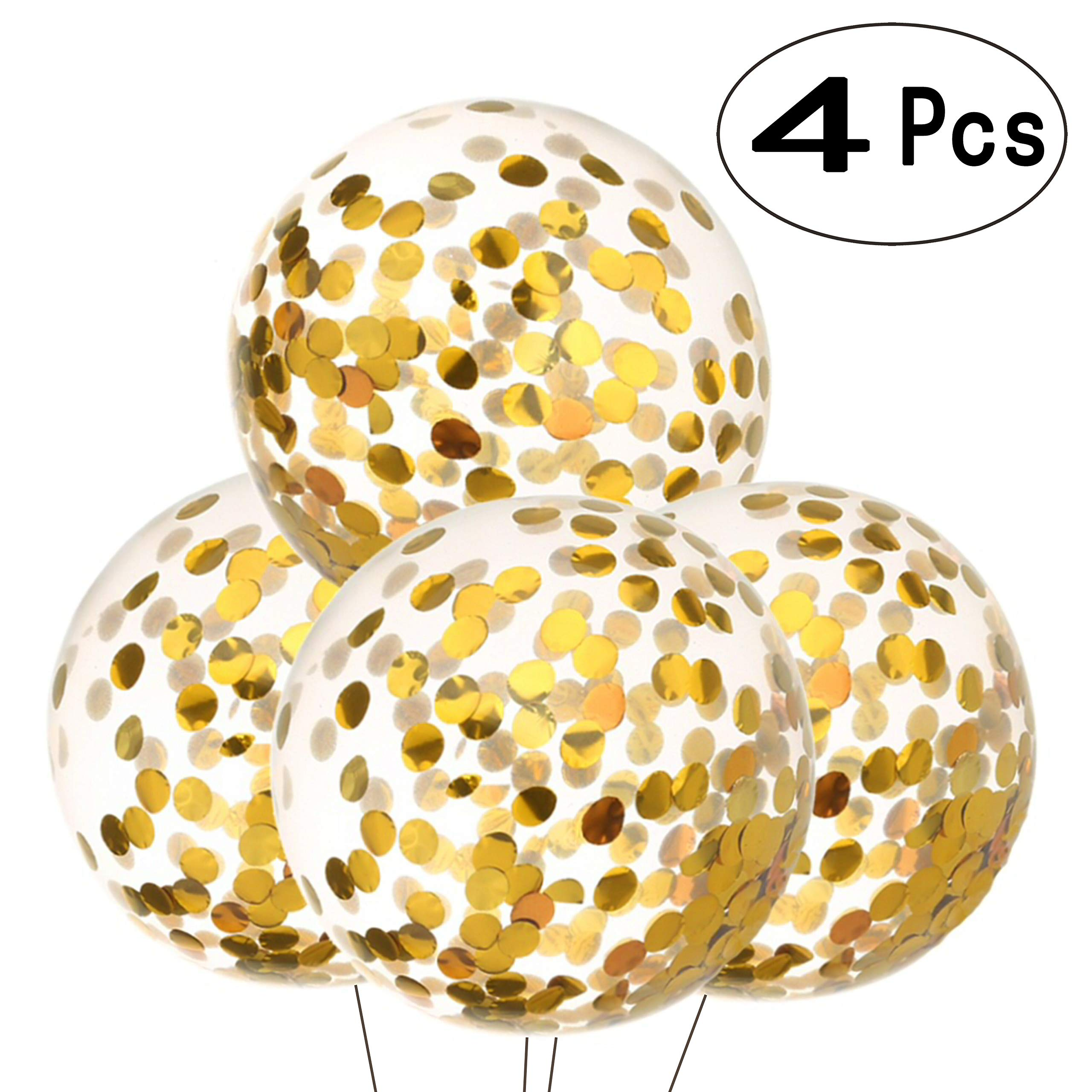 36 inch Glitter Gold Round Confetti Balloons Giant Clear Latex Helium Confetti Balloons Baby Shower Birthday Wedding Bridal Shower Engagement Favors Party Decorations