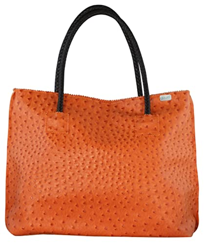 Designer Inspired Faux Orange Ostrich Leather Rosette Tote Bag ... baef37c70721e