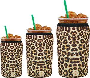Creproly 3 Pack Reusable Neoprene Iced Coffee Cup Insulator Sleeve for Cold Beverages Sok It Cup Sleeves for Cold Hot Drinks Cup Holder for Starbucks Coffee (Leopard)