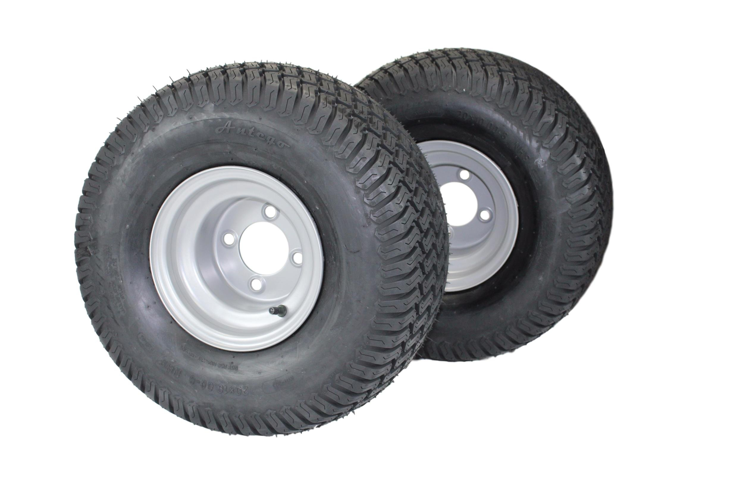 Antego Tire & Wheel (Set of 2) 20x10.00-8 Tires & Wheels 4 Ply for Lawn & Garden Mower Turf Tires