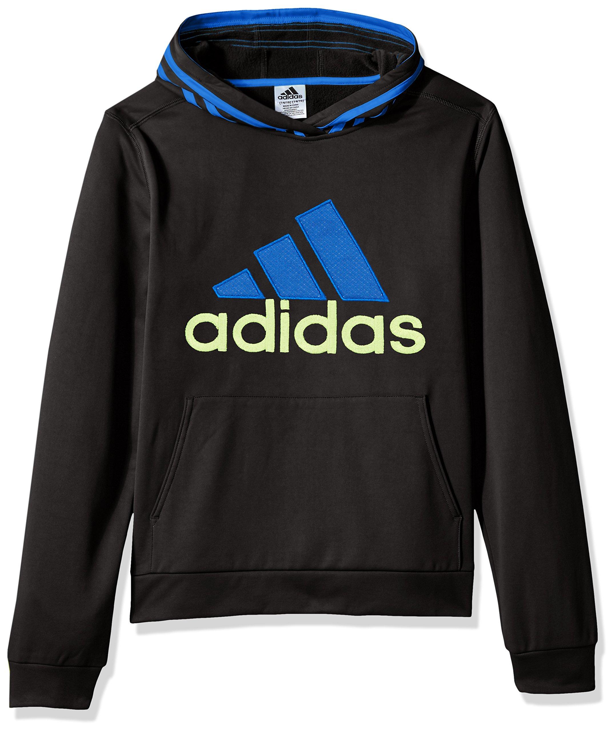 adidas Boys' 6 Athletic Pullover Hoodie, Black/Blue, 6