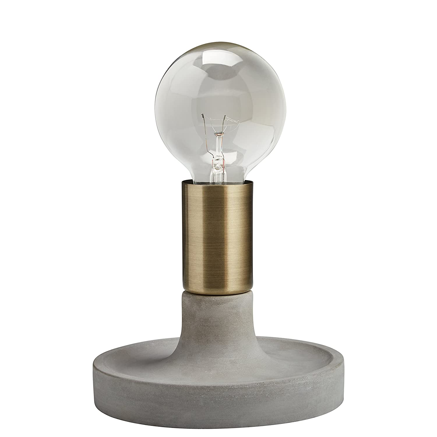 Rivet Modern Exposed Bulb Table Lamp Cement With Antique Brass
