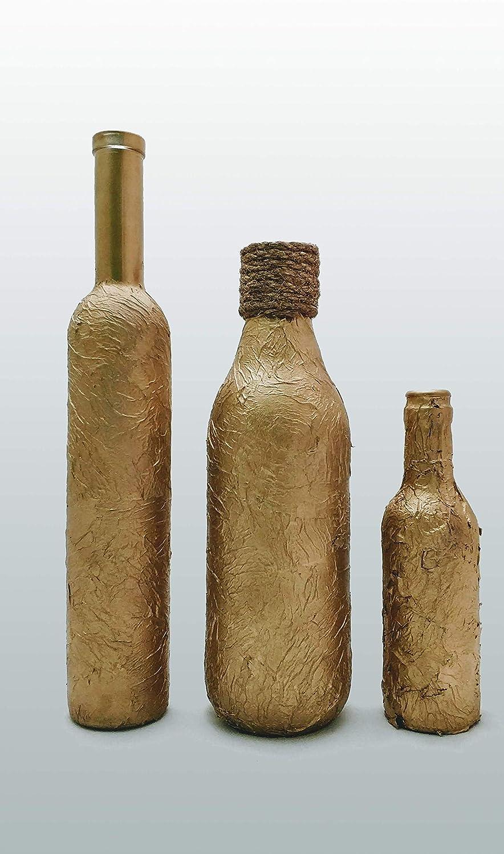Botellas con suerte - Pack 3 Botellitas Decoración Botella Vidrio Doradas Varios tamaños y Formas de Cerveza Cruzcampo Corona y Voll-Damm de 28 cm, 24 cm y 20 cm respectivamente de Alto: Amazon.es: Hogar