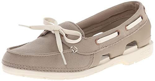 000d13416c99 Croc Women s Beach Line Hybrid Boat Shoe W Khaki and Stucco Canvas Sneakers  - W5