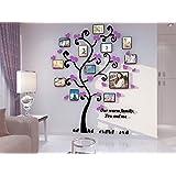 Alicemall Pegatinas de Pared Etiquetas Engomadas PVC Árbol con Hojas y Marcos de Fotos PVC Adhesivas Decorativos para Pared (Negro 120*170)