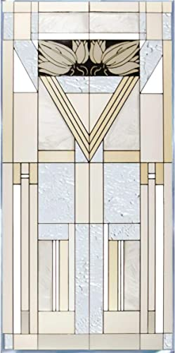 Mission Style White Painted Glass Panel N-021
