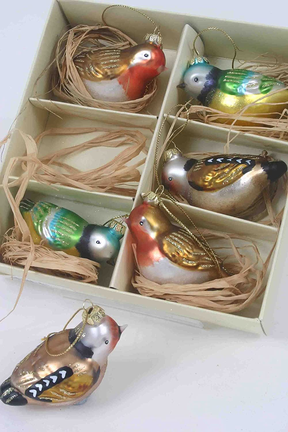set of 6 vintage style bird robinbluetitfinch christmaseaster tree glass baubles by vintage pink tm amazoncouk kitchen home