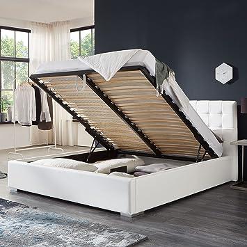 Bett Mit Bettkasten Weiß Weiss Polsterbett Lattenrost Doppelbett Jimmy 140 160 180x200cm 160 X 200 Cm