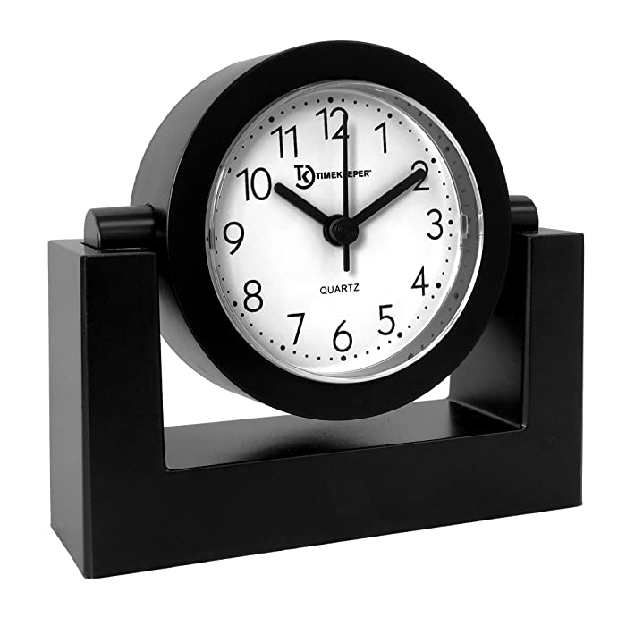 Timekeeper Desktop Swivel Clock for Desk | Shelf | Tabletop, Black Frame w/White Face
