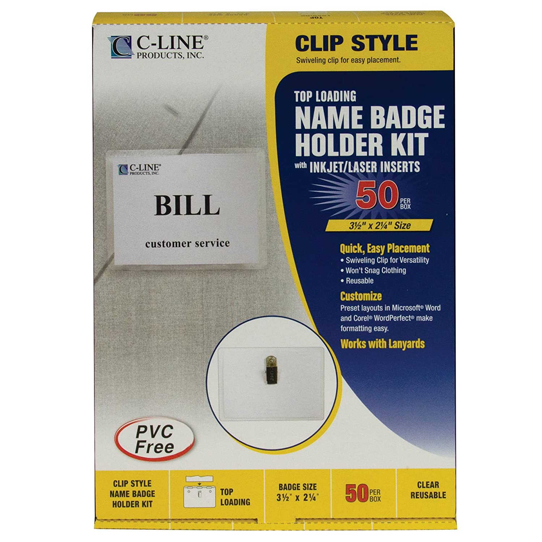 Amazon.com : C-Line 95523 Name Badge Kits, Top Load, 3 1/2 x 2 1/4 ...