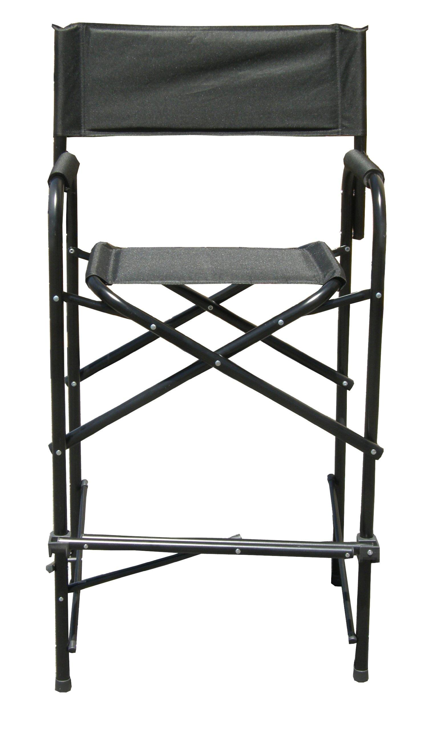 Impact Canopy Tall Folding Director's Chair, Heavy Duty, Aluminum Frame Chair, Black by Impact Canopy