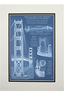 Amazon deco 79 blueprint style art with iconic world bridges golden gate bridge technical blueprint 11x14 double matted art print malvernweather Gallery