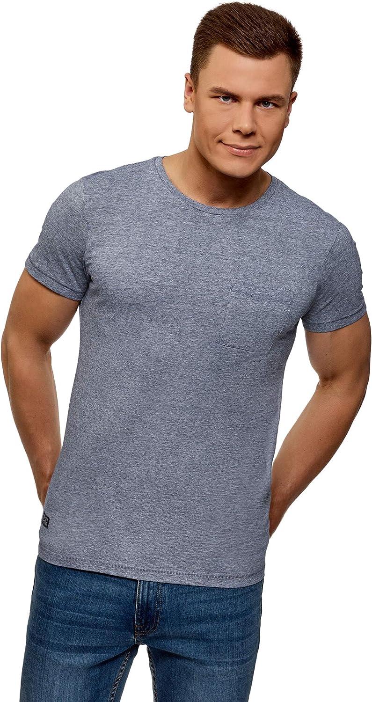 oodji Ultra Hombre Camiseta de Algodón con Bolsillo en el Pecho