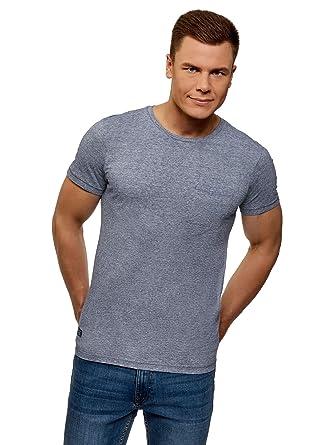 oodji Ultra Hombre Camiseta de Algodón con Bolsillo en el Pecho ...