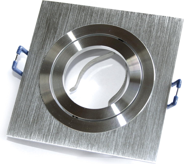 GU10 Fassung 5er Set Decken Einbauleuchte Lenard 1er Silber 230V Edel Design Eckig 45/° schwenkbar ohne Leuchtmittel Einbaustrahler Einbauspot Farbe Aluminium geb/ürstet inkl