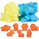 USA Toyz Modeling Clay for Kids – Moosh Fluffy Therapy Putty Play Dough, Magnetic Sand Craft Foam w/ 10 Animal Molds Boys or Girls Sensory Toys (Blue/Yellow)
