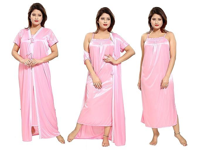 TUCUTE Women s 2pcs Pink Nighty Nightdress (Pink) (Gown   Robe ... b2e6ef98b