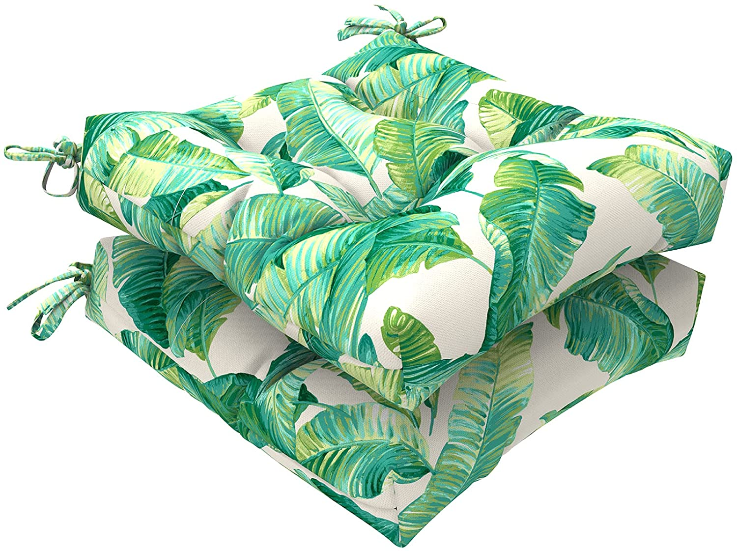 """LVTXIII Indoor/Outdoor Square Tufted Wicker Seat Cushions Pack of 2, Patio Decorative Thick Chair Pads Seat Cushions Set for Patio Garden Home, 19""""x19""""x5"""", Swaying Palms Capri"""