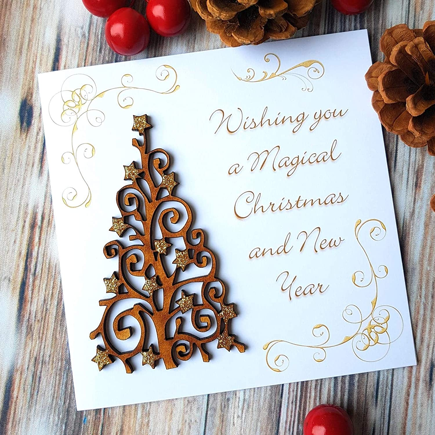 Handmade Christmas Card With Rustic Wooden Sparkly Tree Wishing
