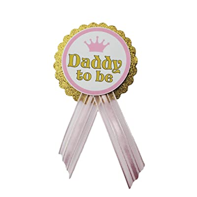 Daddy to Be Pin Princess Baby Shower Pin dad to wear at Baby Shower, Pink & Gold, It's a Girl, Baby Sprinkle: Everything Else