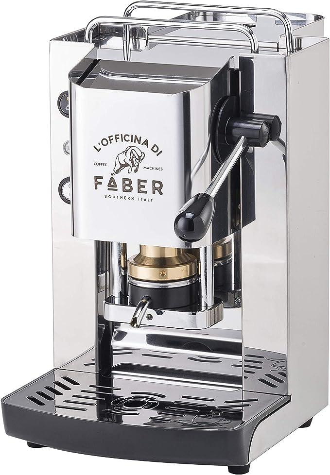 Machine /à caf/é Faber Pro Deluxe finition en laiton /à dosettes en papier Ese 44 mm offert 20 dosettes Emozioni bleu