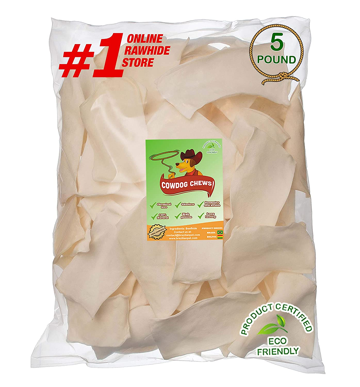 Cowdog Chews Natural Rawhide Chips