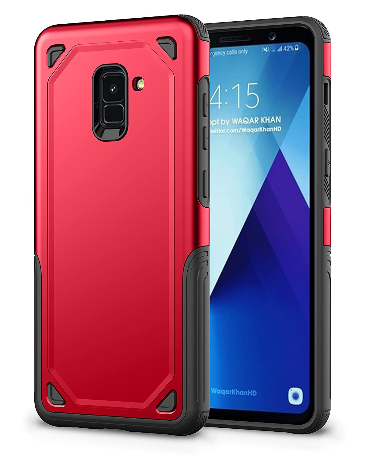 Galaxy A8 2018 Case, Rugged Slim Dual Layer Flexible TPU + Hard PC Armor Slip Hybrid Case for Samsung Galaxy A8 2018 (Gray) Bestfitshop