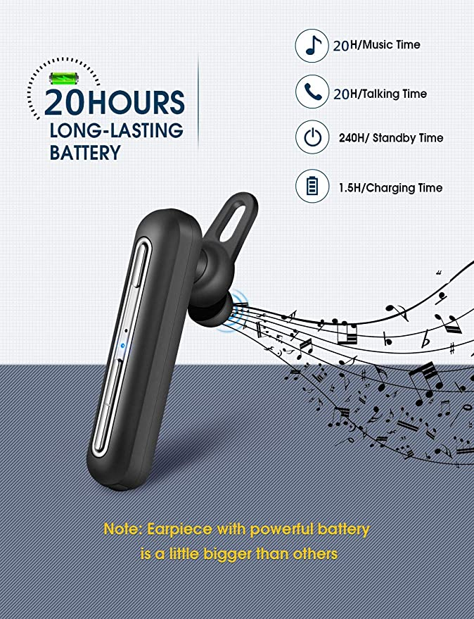 Mpow Business Headset 20H Bluetooth Headset IPX4 Handsfree Dual-Mic Noise  Cancelling, Bluetooth Earpiece Business CVC 6 0, Wireless Earbuds with  Clear
