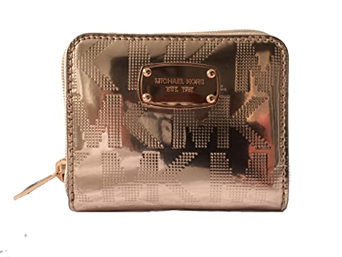 c2a3600b0300f4 Michael Kors Signature Mirror Metallic Zip Around Bifold Wallet Rose Gold:  Amazon.in: Shoes & Handbags