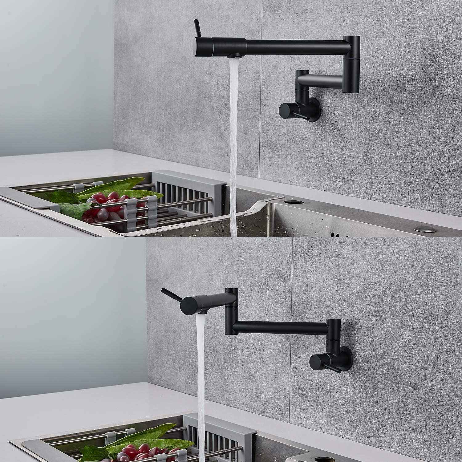Pot Filler Faucet Wall Mount Matte Black Kitchen Restaurant Sink Stretchable Commercial Faucet with Folding Double Joint Swing Arm Single Hole Two Handles NPT Stainless Steel