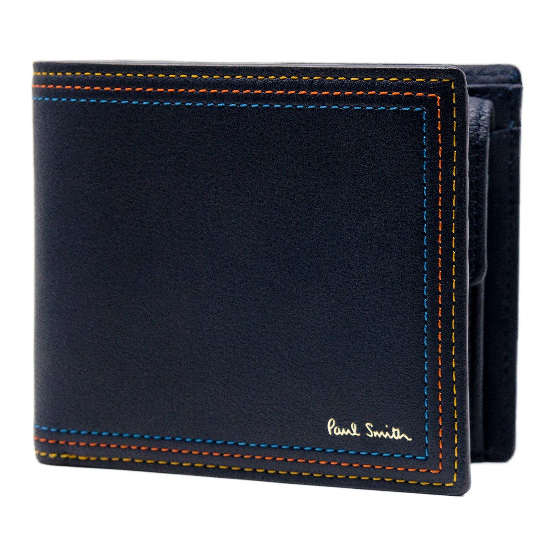 [名入れ可] (ポールスミス) Paul Smith ストライプステッチ レザー 二つ折り 財布 ポールスミス 本革 フォールド ウォレット B07BFS6SCK 名入れなし|ネイビー ネイビー 名入れなし