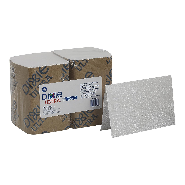 Dixie Ultra Interfold 2-Ply Napkin Dispenser Refill by GP PRO (Georgia-Pacific), White, 3213000, 250 Napkins Per Pack, 12 Packs Per Case