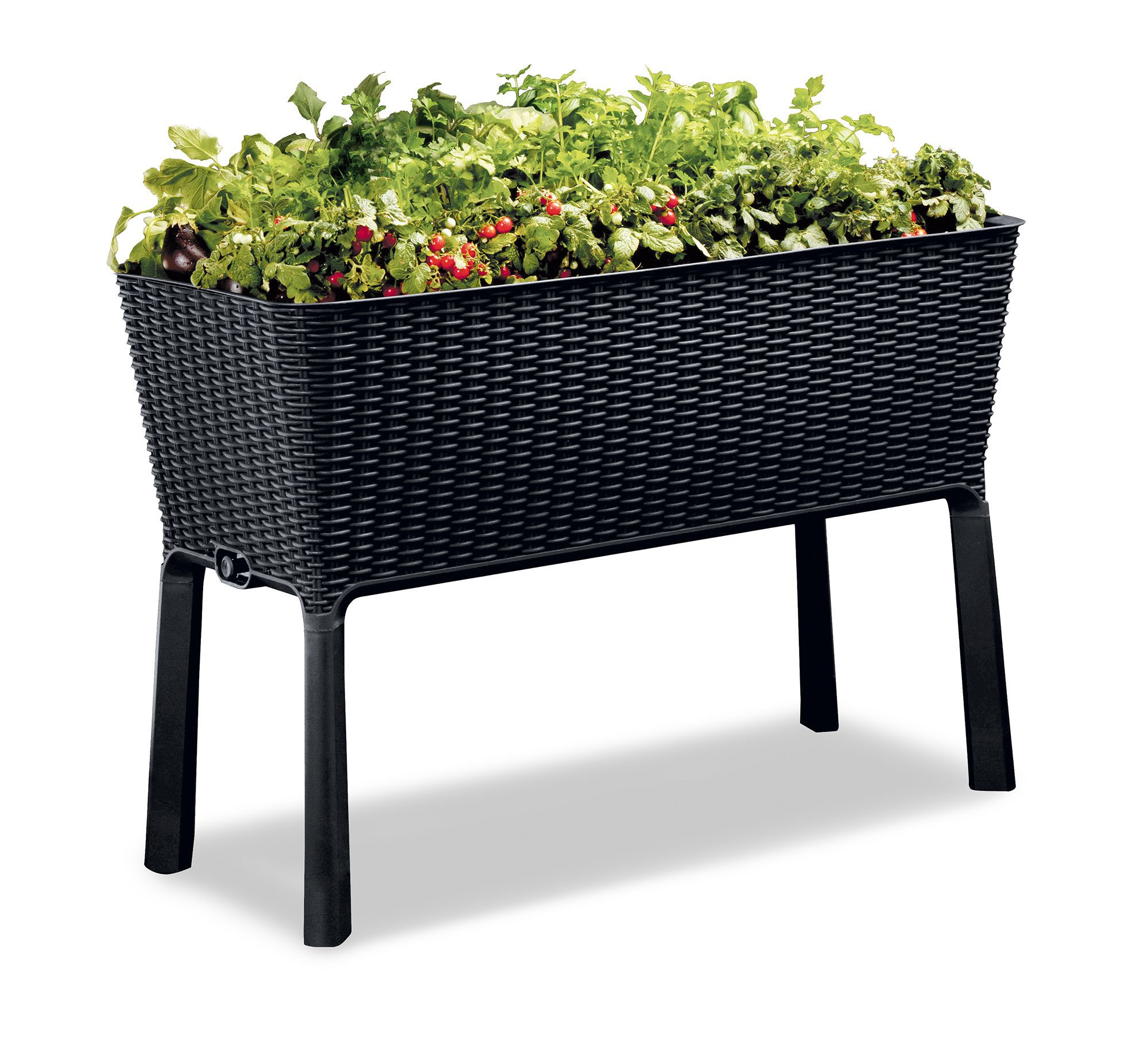 Keter Elevated Garden Bed 1 Dimensions: 44. 9 in. W x 19. 4 in. D x 29. 8 in. H Easy to read water gauge indicates when plants need additional moisture Drainage system that can be opened or closed for full control of watering