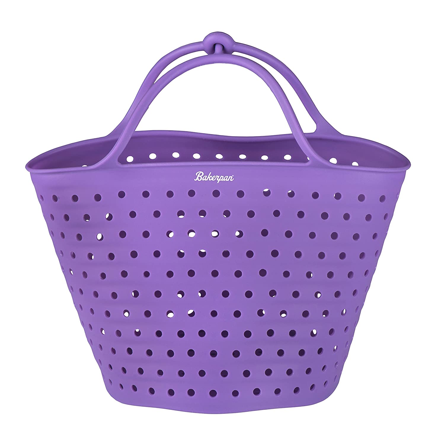 Bakerpan Silicone Vegetable Boiling Basket, Steamer and Strainer with Locking Handles, 5 Inches