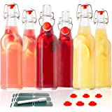 Otis Classic Swing Top Glass Bottles - Set of 6, 16oz w/ Marker & Labels - Clear Bottle with Caps for Juice, Water, Kombucha,