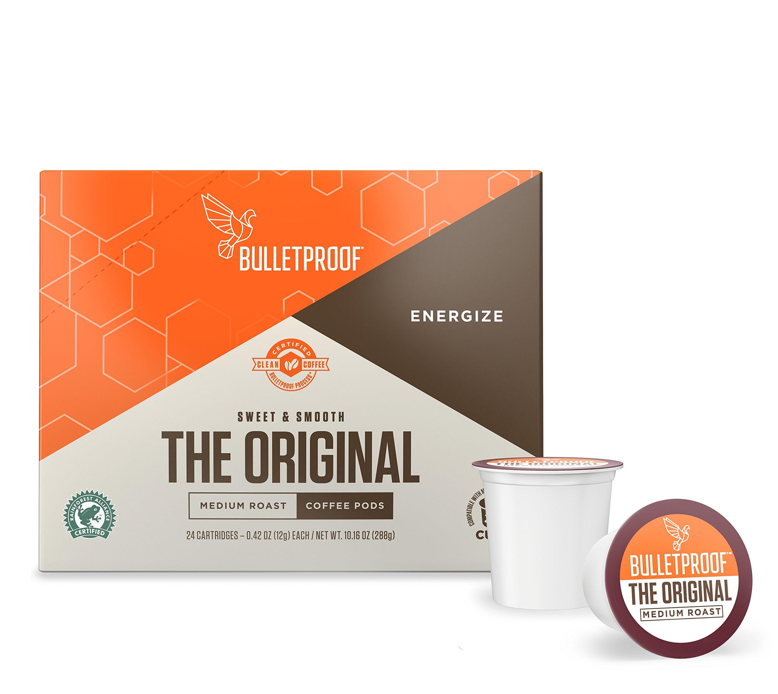 Bulletproof The Original Roast Coffee Pods, Premium Medium Roast Organic Beans, Single-Serve K Cups, Works With Keurig 2.0 (24 Count)