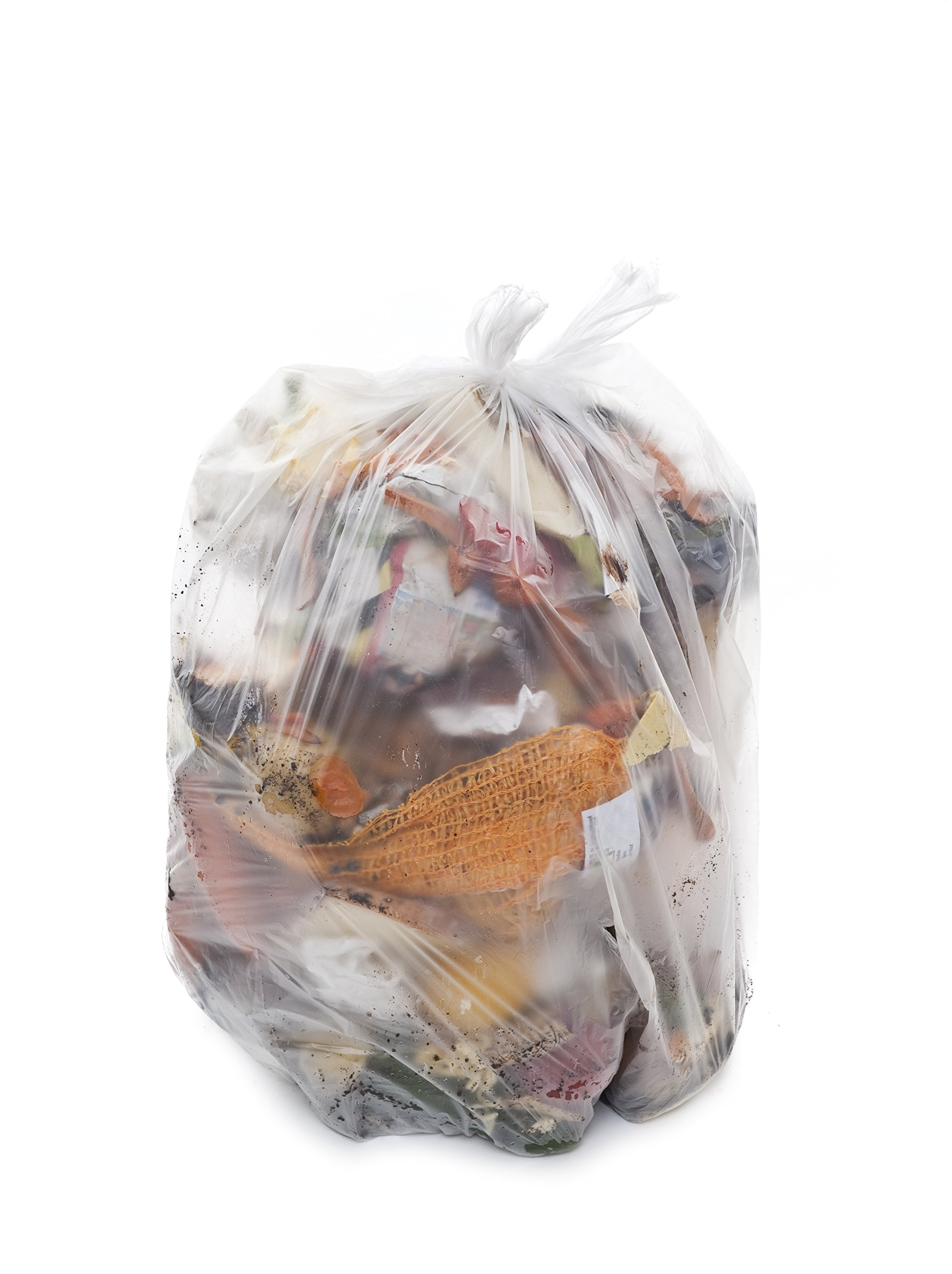 TLD-4048HC, 40-46 Gallon, 100 count, FDA Food Grade Can Liners, 1.6 Mil, Low Density, Clear, MADE IN USA