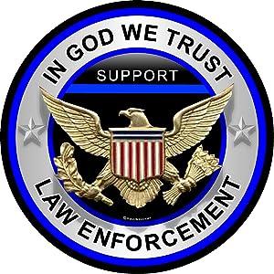 "ProSticker 309 (One) 4"" Patriot Series in God We Trust, Law Inforcement Thin Blue Line Support Decal Sticker"