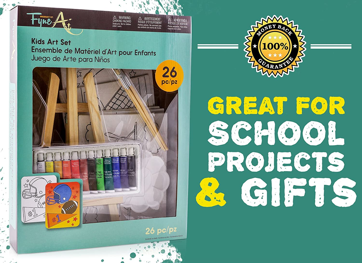26 Piece Kids Canvas Painting Set Arts And Crafts Easel Supplies