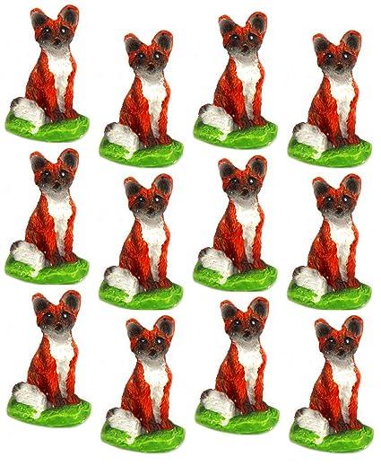 Amazon com: NW Wholesaler Set of 12 Miniature Fox Figurines