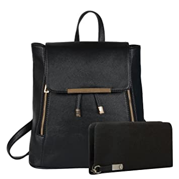 Buy Alice Girl s Combo of Clutch and Cadence Backpack(Black) Online at Low  Prices in India - Amazon.in 7e0eba2d5a00a