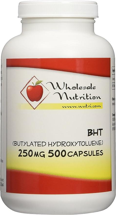 BHT (Butylated Hydroxytoluene) 250mg, 500 Capsules