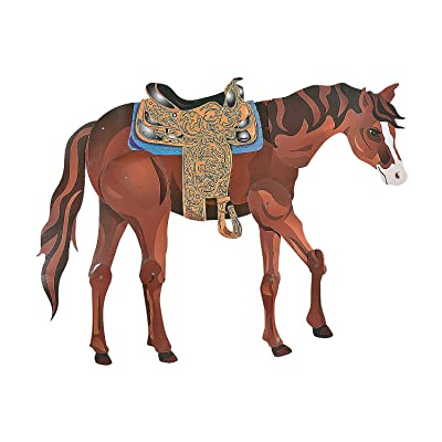 Large Brown Horse Jointed Cutout - Cowboy and Cowgirl Western Party Decor: Toys & Games