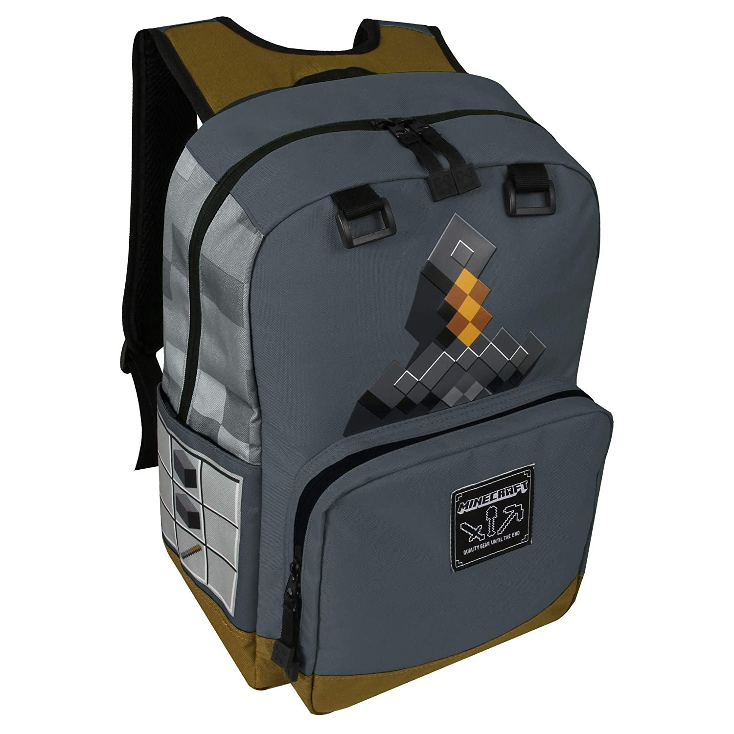 Minecraft Gar/çon Mine Craft Sac /à dos Gris