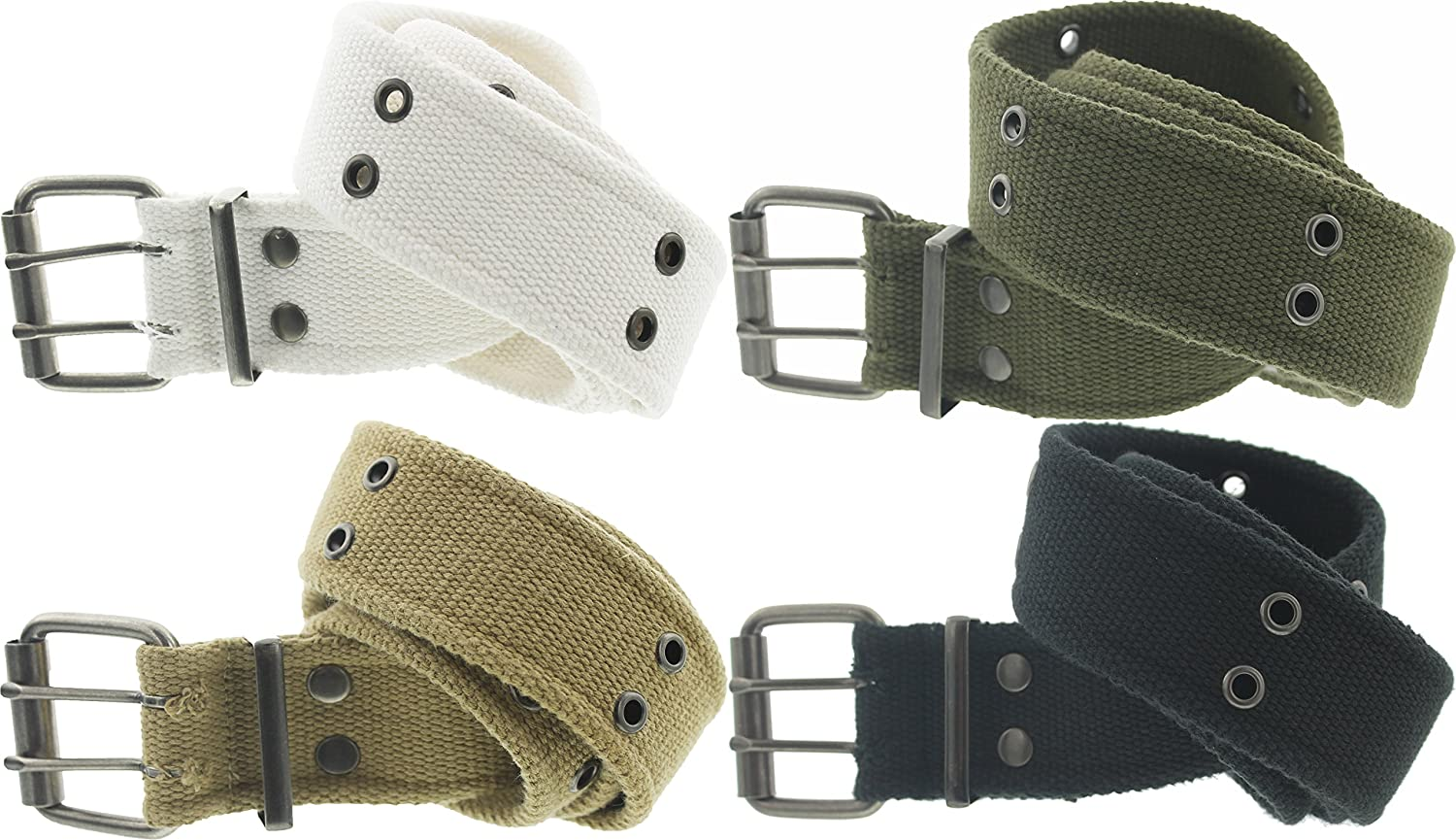 """Heavy Duty Army Pistol Grommet Two Hole 1.75/"""" Military Double Prong Canvas Belt"""