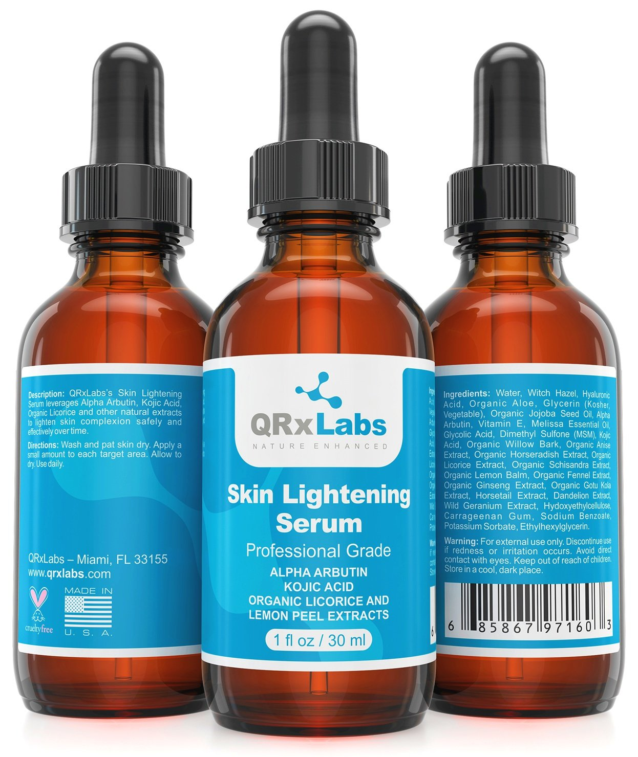 Skin Lightening Serum - Natural & Safe Skin Brightening Serum with Kojic Acid, Alpha Arbutin and Licorice Root Extract - Best Treatment for Dark Spots, Age Spots and Melasma - 1 Bottle of 1 fl oz